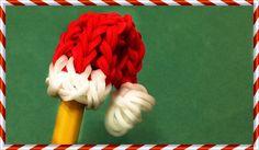 Rainbow Loom Santa Hat Pencil Topper Christmas - How to make with Loom B...