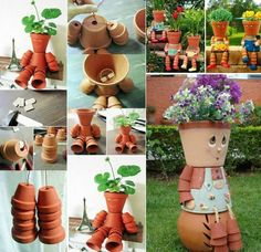 How to make Clay Pot Flower People   Fun easy , can be done with clay pots or plastic or galvanized steel pots Great weekend project for spring and summer