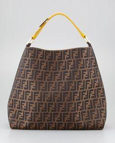 Fendi Zucca Large Hobo Bag Ochre