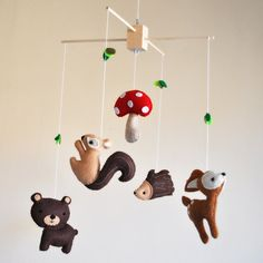 Hanging Whimsical Woodland Creatures Mobile - Deer, Bear, Squirrel, Porcupine, and Mushroom - As featured in NORWAYS GRAVID MAGAZINE on Etsy, $88.00