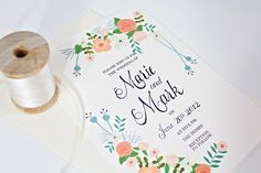 Floral Wedding Invite hand painted in mint green: Qty100 Wedding Invitation & RSVP cards with envelopes 3.60ea. $3.60, via Etsy.