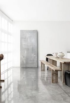 Inspired Spaces | Dining Room | Polished Concrete Floors | Modern Picnic  Table Minimalistisch Wohnen,