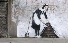 Banksy - Cleaning Banksy Graffiti, Banksy Canvas, Graffiti Artwork, Graffiti Drawing, Bansky, Graffiti Wall, Graffiti Piece, Stencil Graffiti, Graffiti Creator