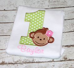 Girl's Mod Monkey Birthday Shirt  Numbers 19 by thesimplyadorable, $24.00