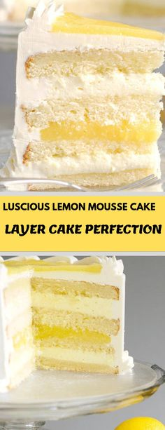 Lemon mousse cake may be the layer cake. Lemon cake with lemon mousse lemon curd and Limoncello syrup. (Limoncello liquor is discretionary. Best Dessert Recipes, Cupcake Recipes, Fun Desserts, Cupcake Cakes, Cupcake Ideas, Lemon Mousse Cake, Lemon Layer Cakes, Lemon Curd, Chocolate Chip Cookie Cake