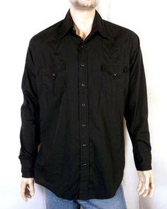 c3f9bd0fe2 vtg 70s Dickson-Jenkins Solid Black Western Shirt Pearl Snap sz XL  Rockabilly Clothing