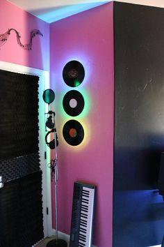 Vinyl Record Wall Light Standard 12 Up-Cycled Black