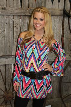 Multi Chevron Print. Off or on the shoulder! www.thefunkycowgirl.com