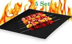 """(Set of 5) Heavy Duty Non Stick BBQ Grills Baking Cooking Mats (16\"""" X 13\"""") Fiberglass Reusable Grilling Mats Work on Gas Charcoal Ovens Electric Grill Durable Heat Resistant Easy Clean Dishwasher Safe >>> Continue to the product at the image link."""