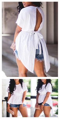 This stylish shirt is a combination of edgy and sweet thanks to its open tie back detail and over sized bow and the on-trend asymmetric hemline. #top #blouse #summerstyle
