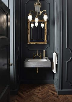 Cool Ideas of Black Powder Room - Awesome Indoor & Outdoor Bathroom Paint Colors, Bathroom Wall Decor, Bathroom Flooring, Bathroom Interior Design, Bathroom Lighting, Bathroom Ideas, Bathroom Renovations, Bathroom Trends, Mirror Bathroom