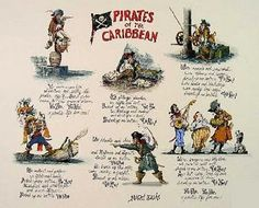 """Marc Davis renderings created for Disney's """"Pirates of the Caribbean"""" ride"""