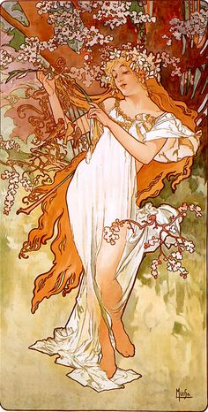 Spring 1896 panel Czech Art Nouveau distinct Alphonse Mucha art for sale at Toperfect gallery. Buy the Spring 1896 panel Czech Art Nouveau distinct Alphonse Mucha oil painting in Factory Price. All Paintings are Satisfaction Guaranteed Mucha Art Nouveau, Alphonse Mucha Art, Mucha Artist, Kunst Poster, Poster Art, Illustration Art Nouveau, Jugendstil Design, Inspiration Art, Tattoo Inspiration