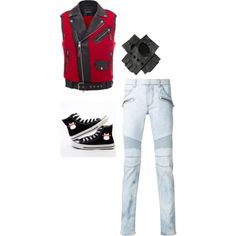 Going to the park by lovingitshort on Polyvore featuring Balmain, Alexander McQueen, Black, men's fashion and menswear