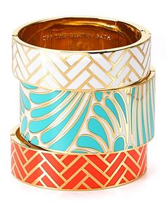 kate spade enamel bangles. If only my wrists were not too small for bangles...