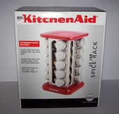KitchenAid 20 Jar Revolving Spice Rack With Spices. Red Kitchen Canisters, Red Kitchen Aid, Red Kitchen Decor, Revolving Spice Rack, Kitchen Gadgets, Kitchen Appliances, Spice Bottles, Kitchen Supplies, Kitchenaid