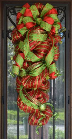 Christmas Deco Mesh Swag Red and Lime Green by JoowaBean on Etsy, $110.00