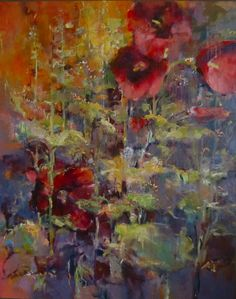 JOAN FULLERTON - GLORIOUS SUMMER 60x48 oil painting of hollyhocks on a highly textured wrapped canvas.