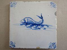 Finishing tonight.. bit fishy really....... Delft Ware Ceramic Tile Large Fish Design 17th Century Dutch