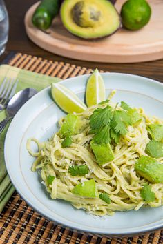 Avocado and Goat Cheese Alfredo Pasta  ---~~ Avocado and goat cheese are a magical combination in this alfredo style pasta that will have you licking your bowl clean