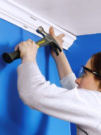 Create a new look in a room by installing crown molding to bridge the gap between walls and ceiling. It's easier than you think! Diy Crown Molding, Molding Ideas, Moulding, Crown Moldings, Home Fix, Trim Work, Diy Home Repair, Moldings And Trim, Up House