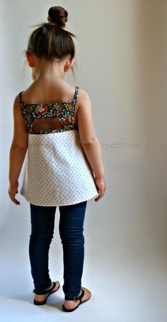 little girl top patterns, i just love this empire waist double color/patterned cut out back top!