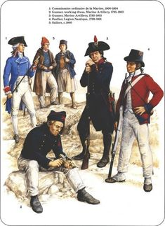 Napoleon's Sea Soldiers_ 1-commissaire ordinaire de la marine 1800-04 2-Gunner working dress marine artillery 1795-1803 3-Gunner Marine artillery 1795-1803 4-fusiller légion nautique 1799-1801 5-sailor 1800