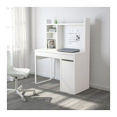 IKEA - MICKE, Computer work station, white, , You can keep your desk clear of paper by writing your notes on the magnetic writing board on the back panel or fastening your to-do lists there with a magnet.You can adjust the shelves to fit different things, and adjust them again whenever you need to. Adjustable shelves help you use your space more efficiently.Extra room above the top shelf where you can keep your books, CDs or DVDs. The side panels act as bookends and keep everything in…