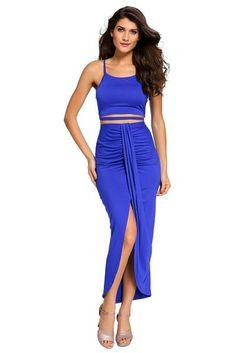 e266a1b046 Adult Stylish Royal Blue Cotton Two Piece Maxi Skirt Set – POPHERS Maxi  Robes, Cheap