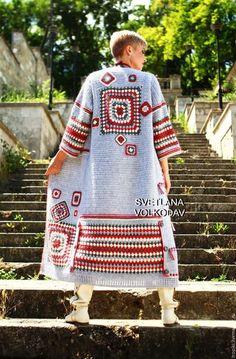 Buy or order Coat knitted & . Crochet Coat, Crochet Jacket, Knitted Coat, Crochet Cardigan, Crochet Granny, Crochet Clothes, Knitting Patterns, Crochet Patterns, Crochet Instructions