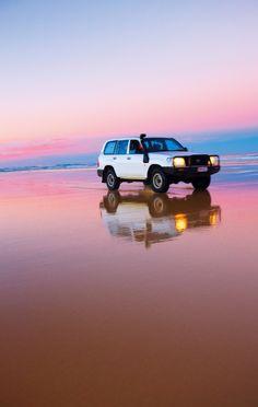 Four wheel driving on Fraser Island. More info on Fraser Island http://www.queenslandholidays.com.au/destinations/fraser-coast/fraser-coast_home.cfm?cmpid=1996  #eurongbeach #fraserisland #queensland #australia www.eurong.com.au #deals