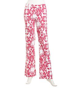Marlowe Ikat-Print Pants, Pink by Sheridan French at Last Call by Neiman Marcus.