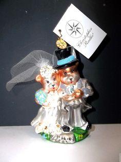 Vintage Christopher Radko Bride And Groom WEDDED TO TED Christmas Tree Ornament