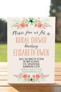 rustic bridal shower invitation floral bridal shower invite printable bridal invitation bridal shower wedding shower coral mint invite