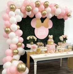 Ideas baby shower cake table backdrop minnie mouse - Ilkay's Geburtstag - Baby Shower Ideas Minnie Mouse Birthday Decorations, Minnie Mouse First Birthday, 1st Birthday Party For Girls, Minnie Mouse Theme, Minnie Mouse Baby Shower, 2nd Birthday, Cake Table Birthday, Birthday Ideas, Birthday Decoration Themes