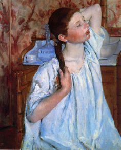 huariqueje: Girl Arranging Her Hair - Mary Cassatt 1886 Impressionism National Gallery of Art, Washingon, DC, USA Mary Cassatt, Edgar Degas, Paris Theme, National Gallery Of Art, Impressionism, Vintage Decor, Her Hair, Gifts For Mom, Vintage Outfits
