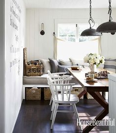 I love this old trestle table!  I would love it for my dining area. Shaw ceiling lights from the Urban Electric Co. hang over an antique trestle table, paired with vintage captain's chairs. House Beautiful.com