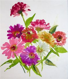 Last Summers Zinnias by Gretchen Kelly, painting by artist Gretchen Kelly