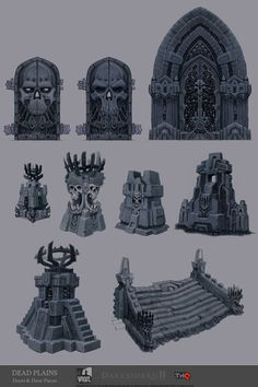 Darksiders 2 by Jonathan Kirtz - Ideas for gothic decoration, doors and so. Requires an expert sculptor and cloning many pieces, but it would be a beatiful gothic dungeon!