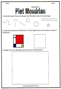 Handout inspired by Piet Mondrian. Use ruler, primary colors, crayons, strips of black paper, and glue.
