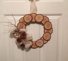 Wooden Discs Home Decor Burlap Wreath/Primitive Wreath/Country Wreath/Rustic Wreath/Wood Wreath