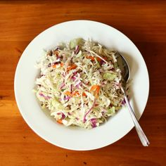 Bacon, Beer Brats, and vinegar Cole Slaw Vinegar Coleslaw, Coleslaw Mix, Vinegar Slaw Recipe, Slaw Recipes, Healthy Recipes, Vegetarian Recipes, Healthy Salads, Healthy Foods, Free Recipes