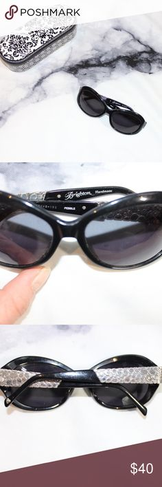 Brighton handmade Pebble Sunnies Sunglasses These are in used condition. Come with original metal and Velvet case. They aren't without flaws. These have been pre loved but still have life in them. Perfect for keeping in the car or in a beach bag. 🖤THANK YOU for supporting our dream 🖤We ship daily M-Sat 🖤no price discussion in comments🖤 use offer button 🖤reasonable offers accepted 🖤low offers countered🖤offers below 50% of asking price are auto declined🖤 Brighton Accessories Sunglasses