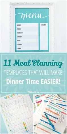 11 Meal Planning Templates That Will Make Dinner Time EASIER!-jpg …