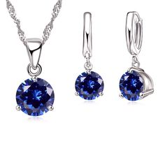 ... earring sets woman Suppliers  JEXXI New 2017 Crystal Necklaces Set 8  Colors 925 Sterling Silver Pendants Stud Earring Sets Women Cubic Zircon  Jewelry 057e9ef1a60a