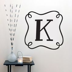 Custom Curly Frame Monogram - Wall Decal - Sweetums Wall Decals