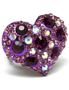 PURPLE CRYSTAL HEART LADIES FASHION STRETCH RING - View All Rings - Rings - Jewellery