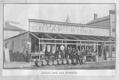 Gustav (George) H. Heinisch  came to Portsmouth in 1868, and in 1869, opened his grocery business at 49-51 Gallia Street. In 1895, his store expanded to a three- story brick building, and in 1897 he added dry goods to his business and offered household items. The store closed in 1910 as Mr. Heinisch opened the Heinisch- King Brick Plant. The building was then used by Glockner Hardware in 1911.