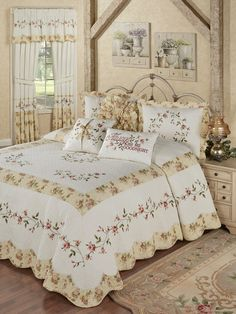 The Honeysuckle Floral Grande Bedspread will fill your bedroom with the sweetness of summer. Oversized bedspread has floral embroidery on a quilted ground. Astounding Bedroom Ideas, From rustic to amazing decor styling examples and tips. Floral Comforter, Comforter Sets, King Comforter, Cama Floral, Interiores Shabby Chic, Donia, Luxury Bedding Sets, Beautiful Bedrooms, Shabby Chic Furniture