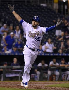 Eric Hosmer Photos - Eric Hosmer #35 of the Kansas City Royals tosses his bat…